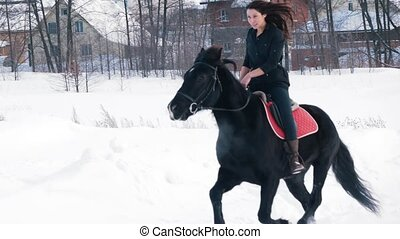 Attractive longhaired female rider riding a black horse...