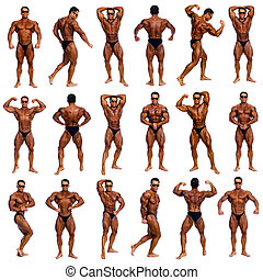 Attractive male body builder, demonstrating contest 18 pose,...