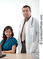 Attractive man and woman healthcare workers in a team