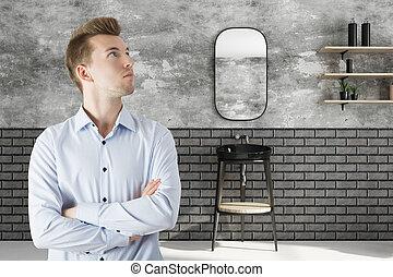 Attractive man in bathroom