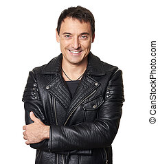attractive man in black leather jacket isolated on white background