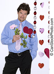 attractive man wearing blue shirt for valentines day