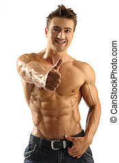 Attractive man - Young attractive muscleman poses