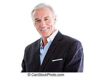 Attractive mature businessman against a white background