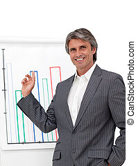 Attractive mature businessman with folded arms in front of a board