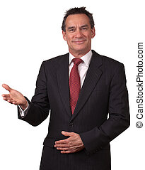 Attractive Middle Age Business Man in Suit Smiling Welcome