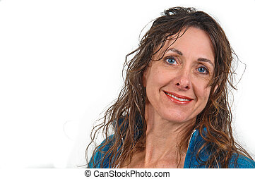 Attractive middle-aged caucasian woman with long brown hair.