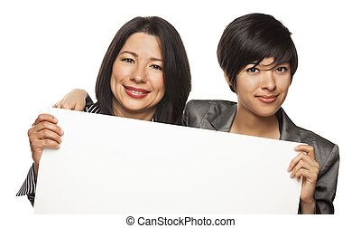 Attractive Mixed Race Mother and Daughter Holding Blank White Sign Isolated on a White Background.