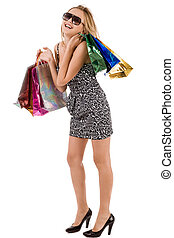Attractive model enjoy her shopping