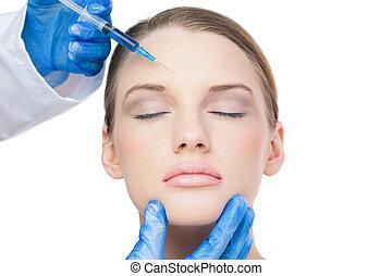 Attractive model having botox