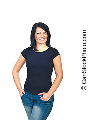 Attractive model woman in black t-shirt