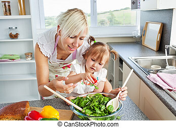 Attractive mother and child cooking in kitchen
