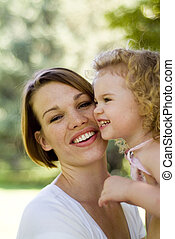 attractive mother and child