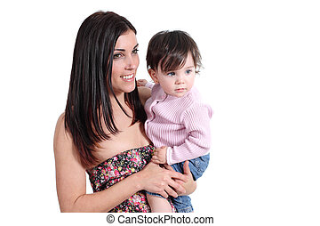 Attractive mother holding her daughter baby and watching at side isolated on a white background