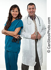 Attractive multi racial nurse doctor medical team