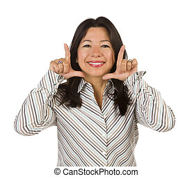 Attractive Multiethnic Woman with Hands Framing Face