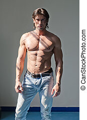 Attractive muscleman standing shirtless on grey background -...
