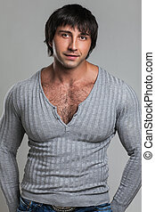Attractive muscular guy in casual