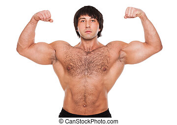 Attractive muscular guy isolated