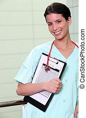 Attractive nurse in hospital
