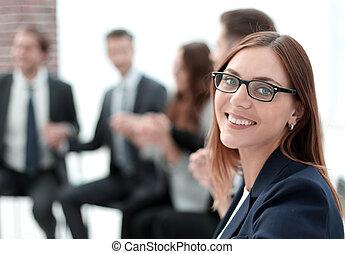 Attractive office worker standing