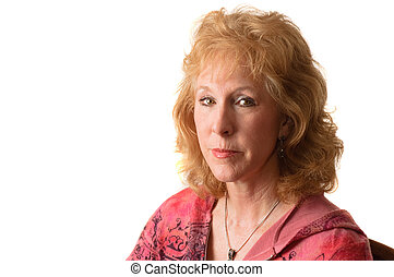 Attractive older blond haired woman isolated over white