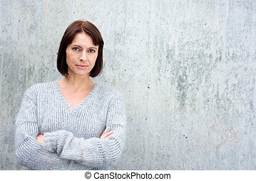 Attractive older woman in wool sweater