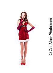 pensive girl in santa costume