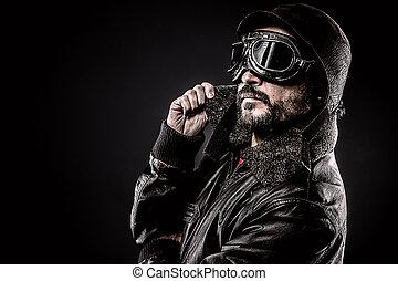 attractive pilot era hat and glasses