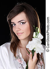 attractive pretty woman portrait on black background