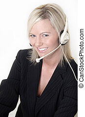 Attractive receptionist wearing headset on white background