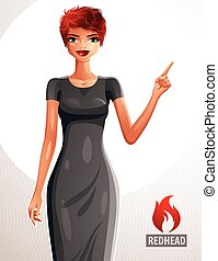 Attractive red-haired female pointing her finger at...