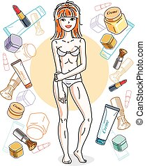 Attractive red-haired woman in underwear posing on colorful background with creme, lipstick, blusher and different tubes. Vector nice lady illustration.