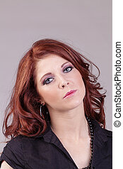 Attractive Red Headed Caucasian Woman Portrait Concerned