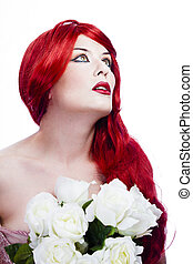 Attractive redhead woman, long red wavy hair with beautiful white roses