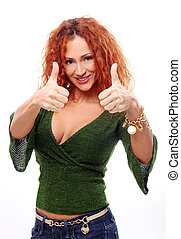 Attractive redhead woman showing thumbs up