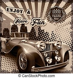 attractive retro car poster