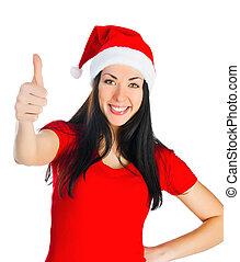 Attractive Santa girl showing thumbs up