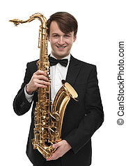 Attractive saxophonist with a saxophone in suit. -...