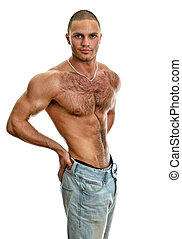 Attractive shirtless male in jeans, isolated on white