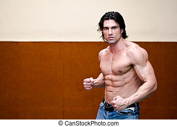 Attractive shirtless muscular man in jeans indoors with ripped torso, abs, pecs and arms
