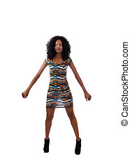 Attractive Skinny African American Teen Woman Dress