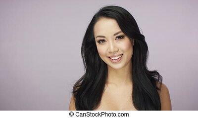 Attractive smiling brunette woman - Headshot of attractive...
