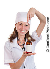 Attractive smiling lady pharmacist