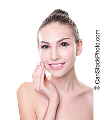 smiling woman face with health skin and teeth