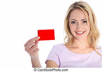 Attractive smiling woman holding a red card