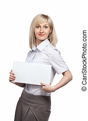 Attractive smiling woman holding white empty paper isolated on white