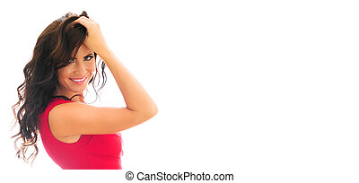Attractive smiling woman in red dress. Isolated on white. Place for your text.
