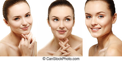 Attractive smiling woman portrait on white background.