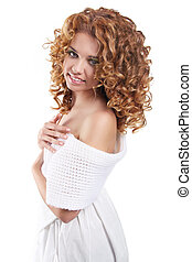 Attractive smiling woman portrait on white background. Beauty Portrait. Curly Hair